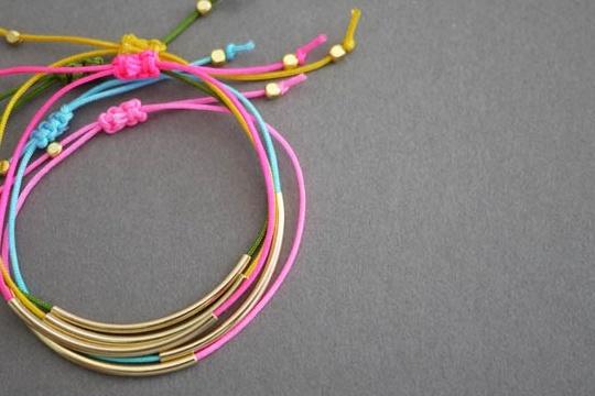 DIY gold tube bracelets