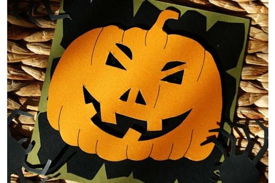 Handmade Halloween Cards Toothy Pumpkin