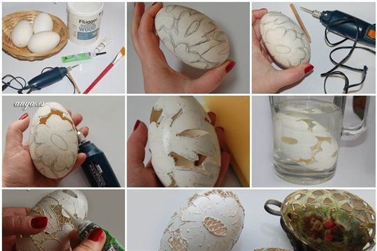 DIY Carved Lace Easter Eggs