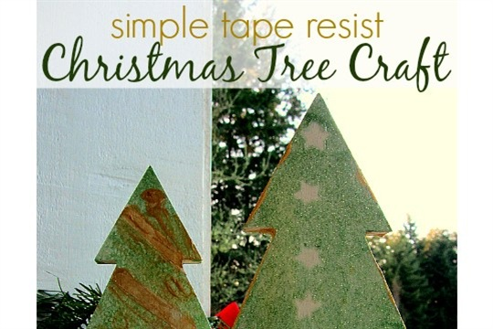 Tape Resist Easy Christmas Tree Craft