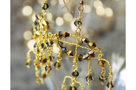 Behind the chandelier earrings