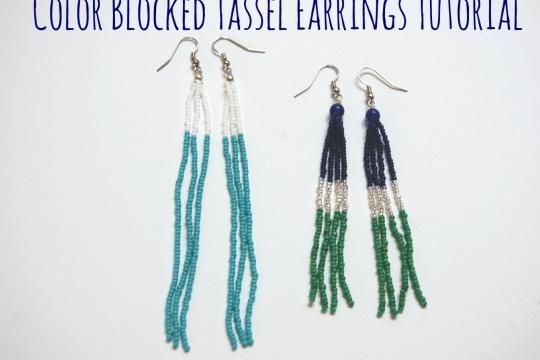 Tutorial: color blocked beaded tassel earrings