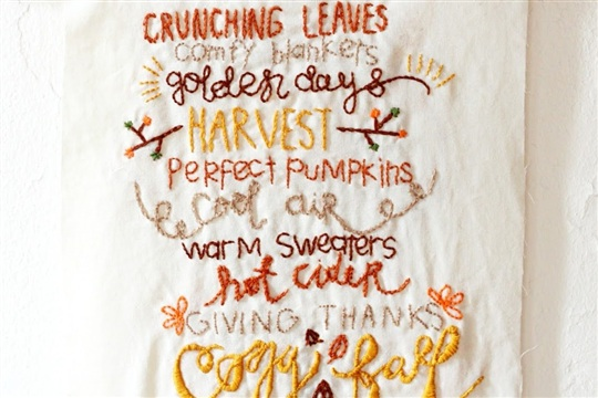 PLG DIY Embroidered 'Fall Favorites' Banner