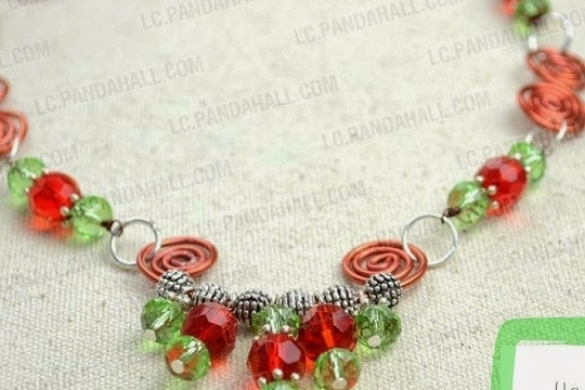 DIY handcrafted wire beaded necklace