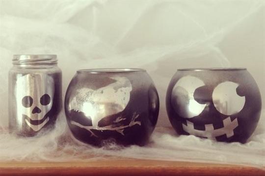 Halloween Decor Mercury Glass Votives