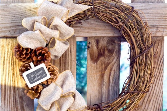 DIY Fall Wreath Rustic Burlap