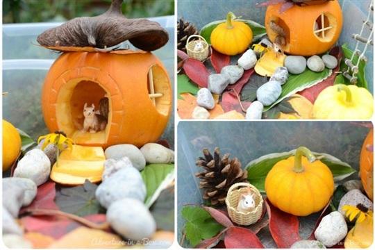 Autumn Sensory Bin Little House in the Pumpkin