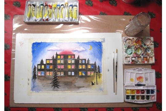 Urban Christmas Landscape Painting