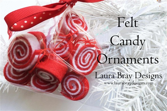 Red & White Candy Felt Ornaments