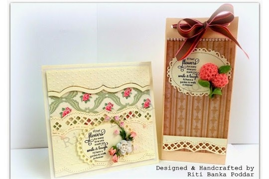 Gift Bag made using We R Memory Makers Gift Bag Punch Board with a Matching Floral Card !