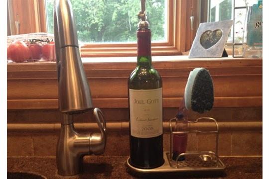 Wine bottle crafts DIY soap dispenser