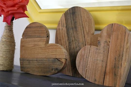 Precious Pallet Wood Hearts - Pennies into Pearls