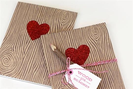 Woodgrain Valentine Notebooks