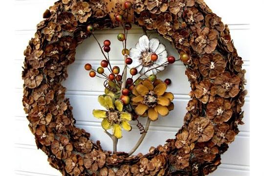 Fall {Pine Cone Flower} Wreath Tutorial