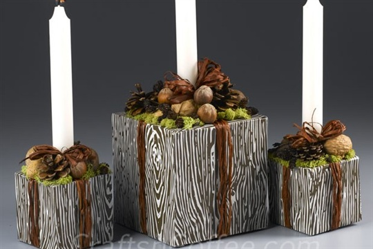 Fall, Faux Bois Candle Centerpiece sets a stylish table