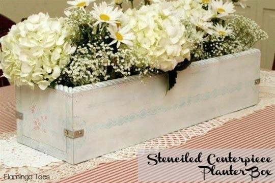 Stenciled Centerpiece Planter Box