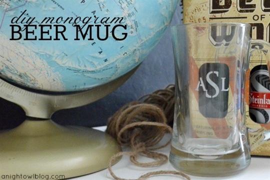 DIY Monogram Beer Mug